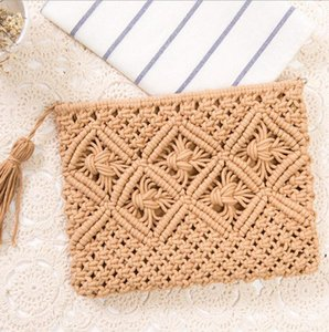 Tassel Handbag Retro Knitted Straw Beach Bag Bohemian simple Messenger Bags For Women summer 9style BWD6136