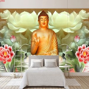 Custom Mural 3D Stereoscopic Jade Carving Buddha Statue Photo Wall Painting Bedroom Study Living Room TV Background Wallpaper