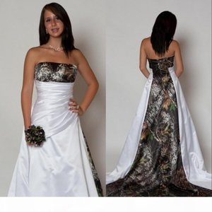 New Arrival Country Camo Wedding Dresses with Pleats Empire Waist A line Sweep Train Camouflage 2019 Strapless Corset Bodice Bridal Gowns