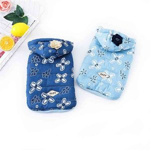 Autumn t and Winter Korean Cute Pet Clothes Dog Teddy Jeans Small Cotton Padded Jacket Warm Clothing