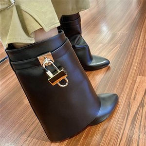 New Arrival Buckle Strap Metal Shark Lock Ankle Boots Women Wedges Sexy Pointed Toe Black Beige Brown Solid Leather Botas Mujer Fashion Designer Padlock Shoes Female