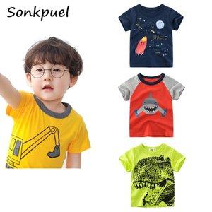 2021 Summer Childrens Short Sleeve T-shirts Cartoon Animals Printed Cotton T Shirt Baby Boys Girls Tee Tops Kids Clothing 2-8Y