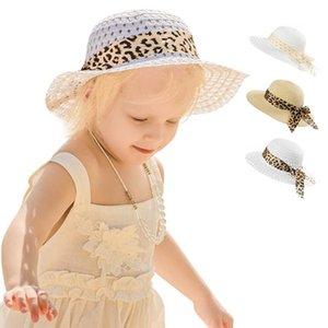 Girls Straw Hat Summer Grass Braid Wide Brim Flower Bucket Hats Leopard Bowknot Princess Kids Caps Baby Accessories 0-4T B5722