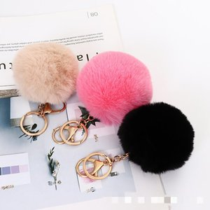 Fluffy Artificial Fur Ball Key Chain Pompon Keychain Fluff Keychains Faux Fur-like Keyring Holder For Bag Car Hooks & Rails