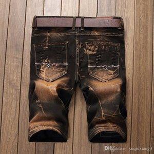 Men's Jeans 28-42 Selling Summer Casual Thin Short Homme De Marque Korean Youth Mens Denim Shorts Elasticity Distressed n WJI4