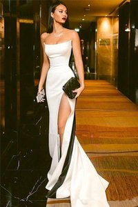 Modest Black and White Evening Dresses 2021 Strapless High Side Split Sexy Long Prom Party Formal Gowns vestidos