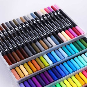Cute Art Marker Pens 12 18 24 36 48 60 72 100 Set Colorful Ink Gen Manga Anime Watercolor Tip Brush Pen Graffiti Painting Pencil