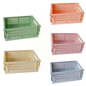 Pencil Cases Foldable Plastic Pen Makeup Cosmetic Storage Box Basket Desktop Sundries Holder Brush F1f8