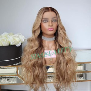 Lace Wigs Ombre Honey Blonde 360 Frontal Human Hair With Baby Remy 13x6 Front Wig Natural Wave Preplucked T Part