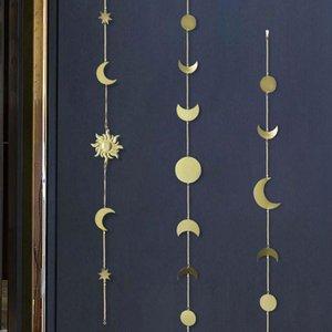 Лунная фаза гирлянды цепочки небесные бого сияющие стены висит декор дома гостиная спальня орнаменты декоративные объекты фигурки