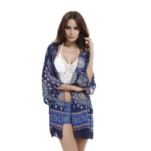 Women Blouses Tribal Floral Print Beach Sunscreen Chiffon Kimono Cardigan Summer Autumn Tops Blusa Feminina C2152 Women's & Shirts