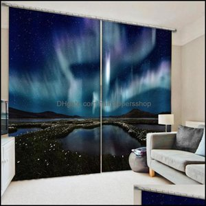 Curtain Deco El Supplies Home Gardencurtain & Drapes Po Blackout Window Luxury 3D Curtains For Living Room Blue Thick Shading Soundproof Win