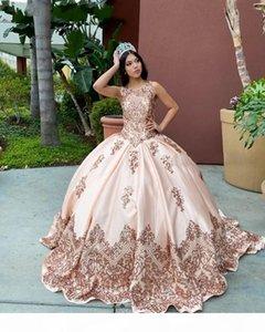 Rose Gold Quinceanera Dresses with Seuqins Applqiues jewel neck Sleeveless Sweet 16 Dress Sweep Train vestidos de quincea?era