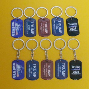 2024 Trump Keychain Party Supplies US President Election Flag Pendant Stainless Steel Tags I'll Be Back Keyring CYZ3255