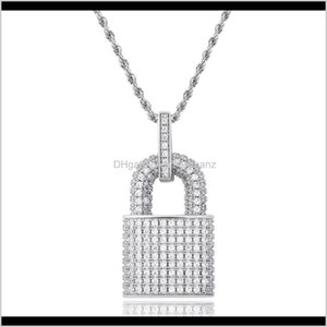 & Pendants Drop Delivery 2021 Lock Necklace Men Hip Hop Jewelry Iced Out Pendant Full Rhinestone Designer Necklaces Gold Sier Plated Chain Fa