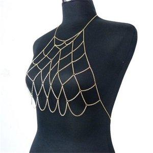 Catene Collares Collari Bikini Body Harness Bohemian Belly Catena Gioielli Sexy Bra Bra Maxi Collana Accessori Donne 1256 Q2