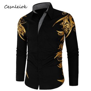 Spring Autumn Features Shirts Men Casual Gold Shirt New Arrival Long Sleeve Casual Slim Fit Male Shirts Mens Clothing