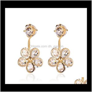 Drop Delivery 2021 Flower Stud Shining Crystal Floral Earrings For Girls Women Wedding Jewelry Accessories Etcie