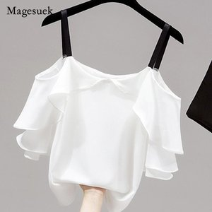 Women's Blouses & Shirts Korean Summer 2021 Chiffon Women Shirt Solid Ruffle Butterfly Sleeve Tops For Casual Simple Loose Slim Blouse Blusa