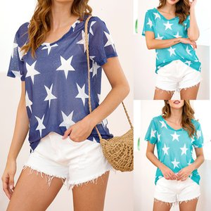 perspective Summer Tops For Womens Tops and Blouses 2019 Tunic Star Print O Neck Short Sleeve Tops Casual Tee Shirt Woman Clothes