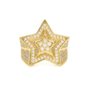 Hip Hop Mens Gold Ring Jewelry High Quality Five-pointed Star Cubic Zircon Silver Rings For Men 1661 T2