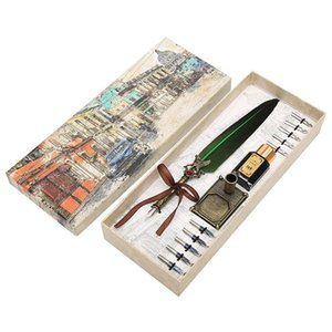 Retro British Stationery Dip Fountain Pen Set Christmas Halloween Special Calligraphy Feather Pens