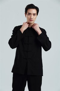 Shanghai Histoire Vêtements chinois traditionnels pour hommes Tai Chi Shirt Tang costume Kungfu Man manches longues Mélange Draps Hommes occasionnel Chemises occasionnelles