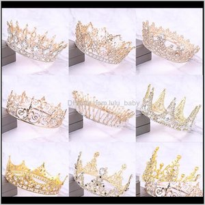 Arrival Gold Crystal Tiara And Crowns Queen King Round Crown Wedding Bridal Women Baroque Jewelry 37Qtj D6Oci