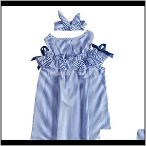 Dresses Clothing Baby, Kids & Maternity Drop Delivery 2021 Fashion Sweet Lovely Summer Toddler Baby Girls Off Shoulder O-Neck Bow Blue Stripe