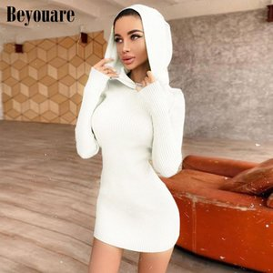 Casual Dresses Beyouare Knitting Hooded Mini For Women Long Sleeve Slim Bodycon Autumn Solid Sexy Elegant Office Lady Dress
