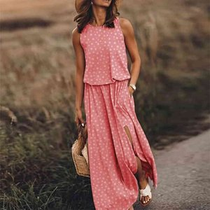 Women Mouwlless Sexy Elegant Female Summer Dress Long O-neck Dresses Lent Vintage Print Split Beach Maxi Dress Vestidos 18