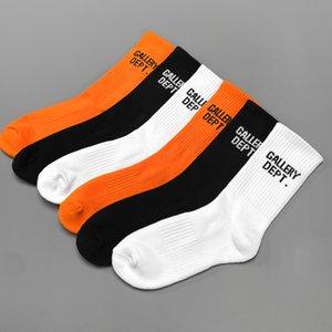 Orange White Hip Hop Printed Printed Funny Socks Men Sock Fashion Unisex Casual Cotton Crew Socks