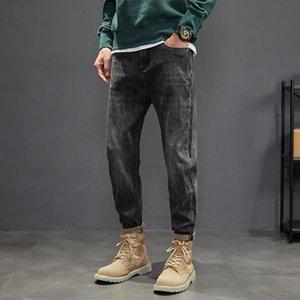 Men's Jeans Ly Vintage Designer Fashion Men Retro Black Gray Elastic Slim Harem Korean Style Casual Denim Pencil Pants