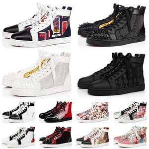Brand Men Women Red Bottom Dress Designer Shoes Fashion Luxury Leather Black Suede Studded Spikes Platform Sneakers Loafers Flat Heels Trainers Size 36-47