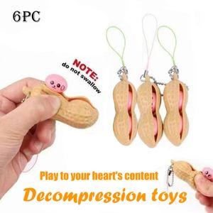 Kawaii Anti Stress Peanut Push Pop Bubble Squishy Toy Stress Relief Fidget Toys Mini Keychain Improve Focus Officer Toys For Kid