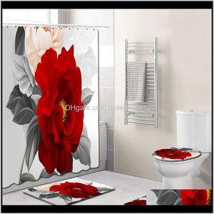 Accessory 4Pcs Elegant Flowers Pattern Shower Toilet Cover Mat Non-Slip Rug Set Bathroom Waterproof Bath Curtain With 12 Hooks 5Dxqg Um90V