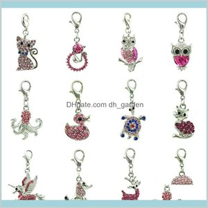 Findings Components Drop Delivery 2021 Mix Sale Pink Rhinestone Floating Lobster Clasp Bulk Animal Pendants Charms For Jewelry Making Diy Acc