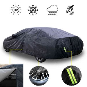 Universal Full Covers Outdoor Waterproof Sun UV Rain Snow Protection Black Case Cover S-XXL SUV Sedan Car Zipper Design
