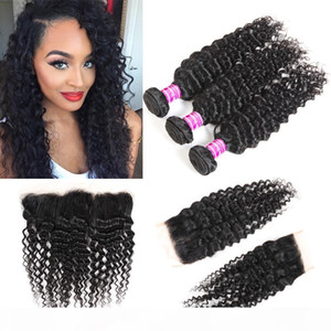 New Arrivals Brazilian Virgin Deep Wave Human Hair Bundles With Lace Closure & Frontal Remy Peruvian Indian Hair Extensions Wefts Weaves