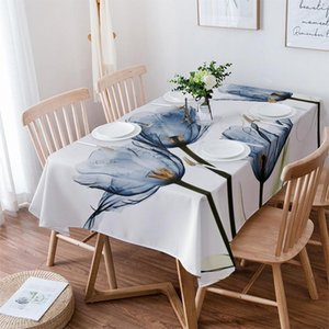 Table Cloth Blue Tulip Flowers Text Wedding Party Waterproof Oilproof Dining Cover Kitchen Home Decor Tablecloth