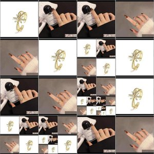 Jewelry Drop Delivery 2021 Fashion Simple Double Star Ring Open Index Finger Wedding Tail Rings 1Fqjf