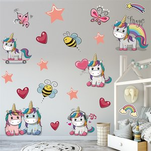 PVC Pegatina de pared de unicornio colorido de PVC 2 unids 3D Kindergarten Livingom Pegatinas de caballo DIY fondo decoración vinilo arte impermeable 4 2pd g2