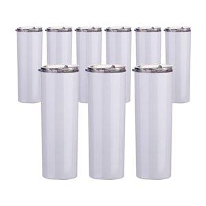 20oz 30 oz sublimación impresión láser en blanco blanco taza de paja recta taza taza de copa de acero inoxidable botellas de agua aisladas al vacío con logo personalizado