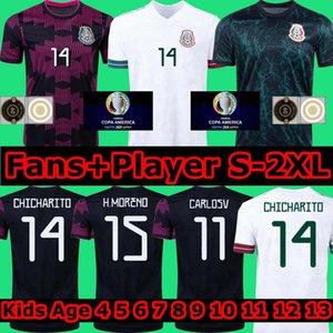 المكسيك Soccer Jersey Home Copa America Fans Player Player Camiseta 20 21 Chicharito Lozano Dos Santos 2020 2021 الألعاب الأولمبية كرة القدم قميص الرجال + أطفال مجموعات