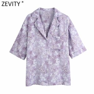 Women Tropical Leaves Floral Print Casual Pocket Shirts Lady Short Sleeve Loose Blouse Femininas Kimono Chemise Tops LS9178