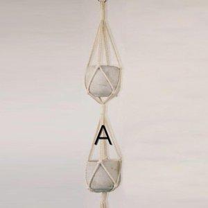 Handcraft Braided Rope Macrame Hanging Basket Flowers Pot Holder Plants Hanger Planters & Pots