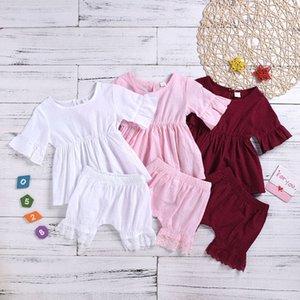 XYBB IN Yaz Küçük Kızlar Giyim Setleri Hollow Elbise Üstleri Ile Dantel Şort 2 Adet Set Pamuk Çocuk Bountique Çocuklar Bebek Kıyafetleri