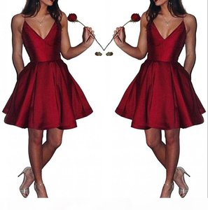 V Neck Satin Short Homecoming Dresses Sexy Spaghetti Straps A Line Knee Length Formal Party Gowns Short Prom Dresses BM0448
