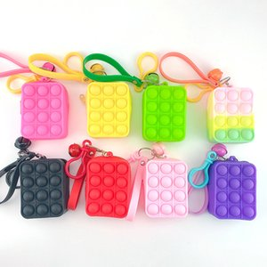 Sensory Bubbles Pop Keychain Purse Cellphone Straps Fingertip Push Simple Dimples Fidget Toys Decompression Popping Change Coin Bag Christmas New Year Gift