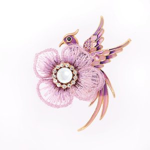 Pins, Brooches Handmade Embroidery Flower Bird Swester Coat Cardigan Elegant Clothing Accessories Gifts